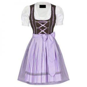 purple and white dirndl dress