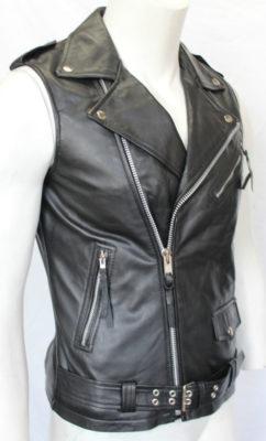 2ba7291b37f33 Brando Vintage Black Sleeveless Motorcycle Leather Jacket For Sale