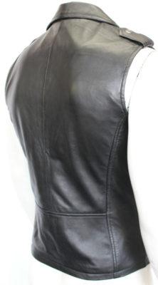 Black Sleeveless Leather Jacket for sale