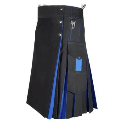 blue and black hybrid Two Tone Kilt