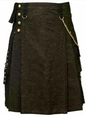 mens black Denim skirt