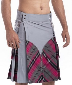 Modern Granite Grey Scottish Tartan Highland Utility Active Men New Kilts