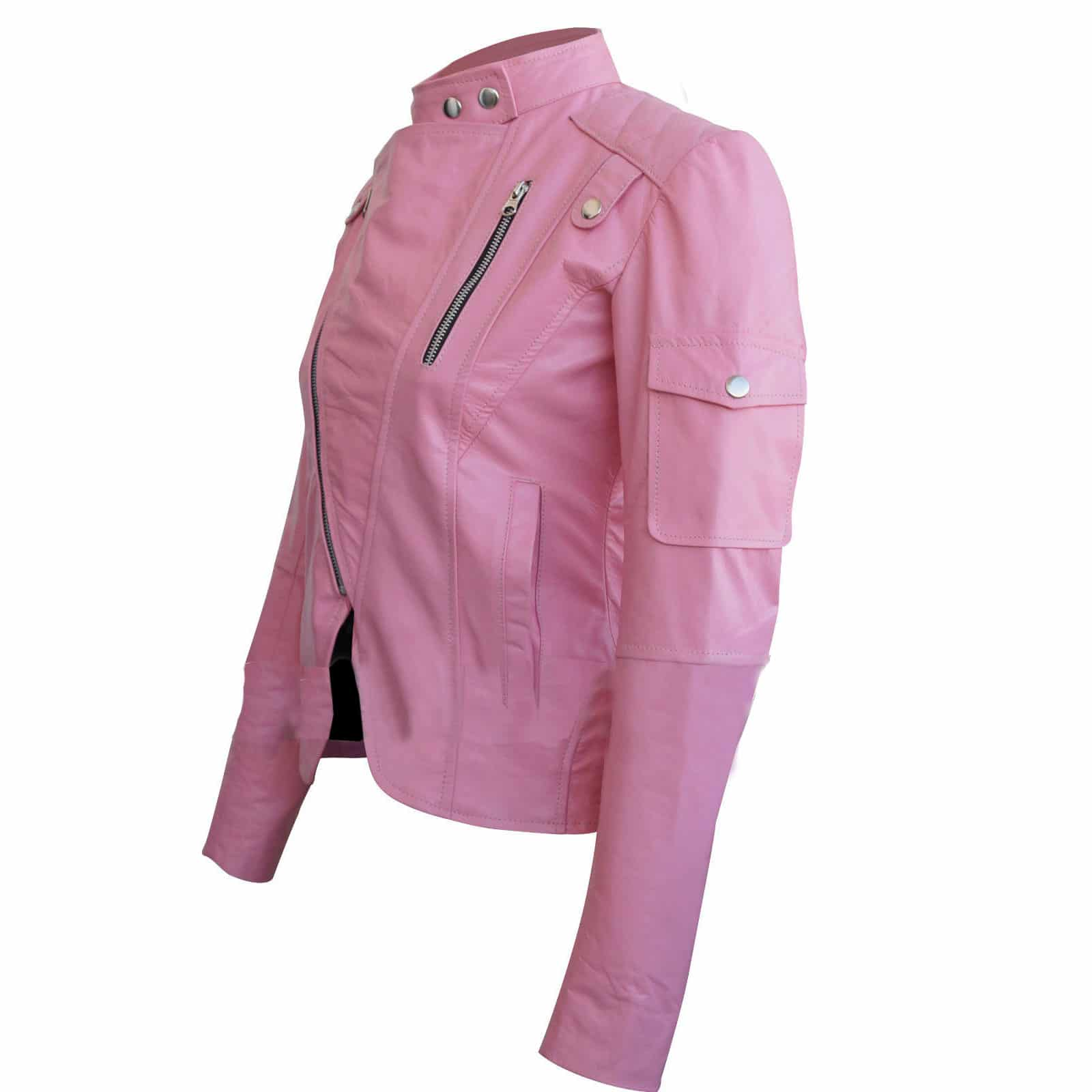 Pink Leather Jacket for sale