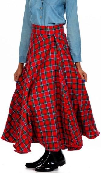 long Midi Tartan Skirt
