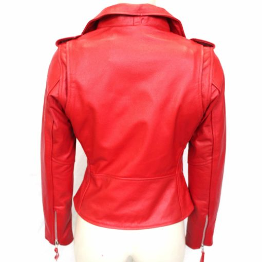 red Real Leather Jackets Womens