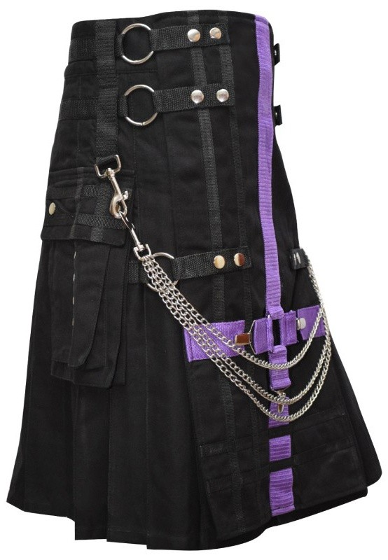 Black Two-Tone Utility Kilt