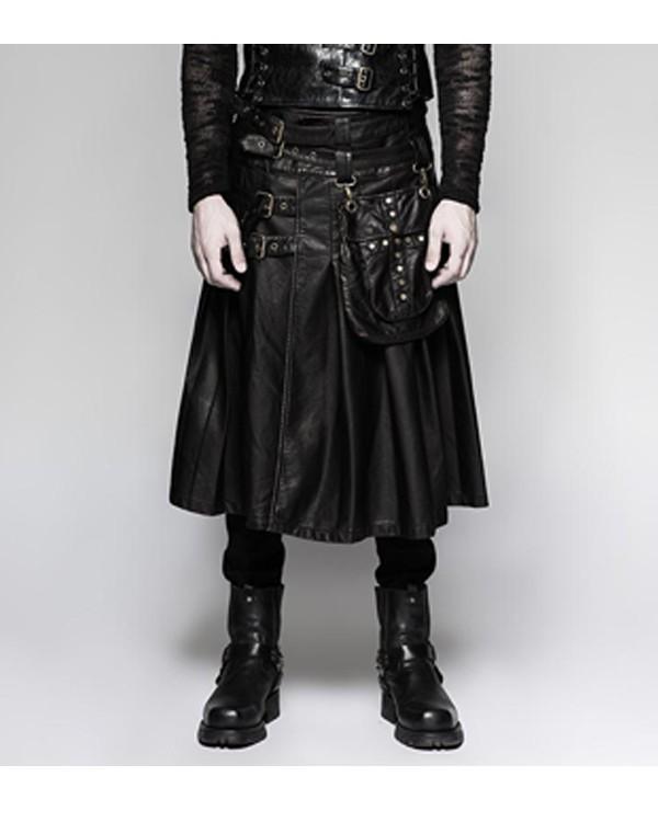 Real Leather Black Kilt
