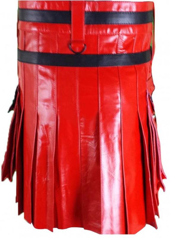 Fashion Red Leather Kilt